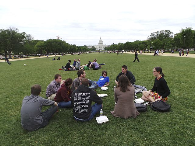 Photo of young professionals sitting on the Mall with a view of the Capitol.