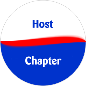 """Graphic of button / sticker that says """"Host Chapter"""""""