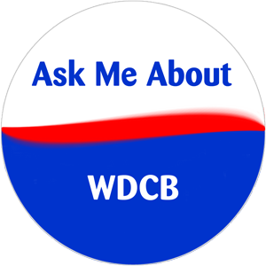 """Graphic of button / sticker that says """"Ask Me About WDCB"""""""