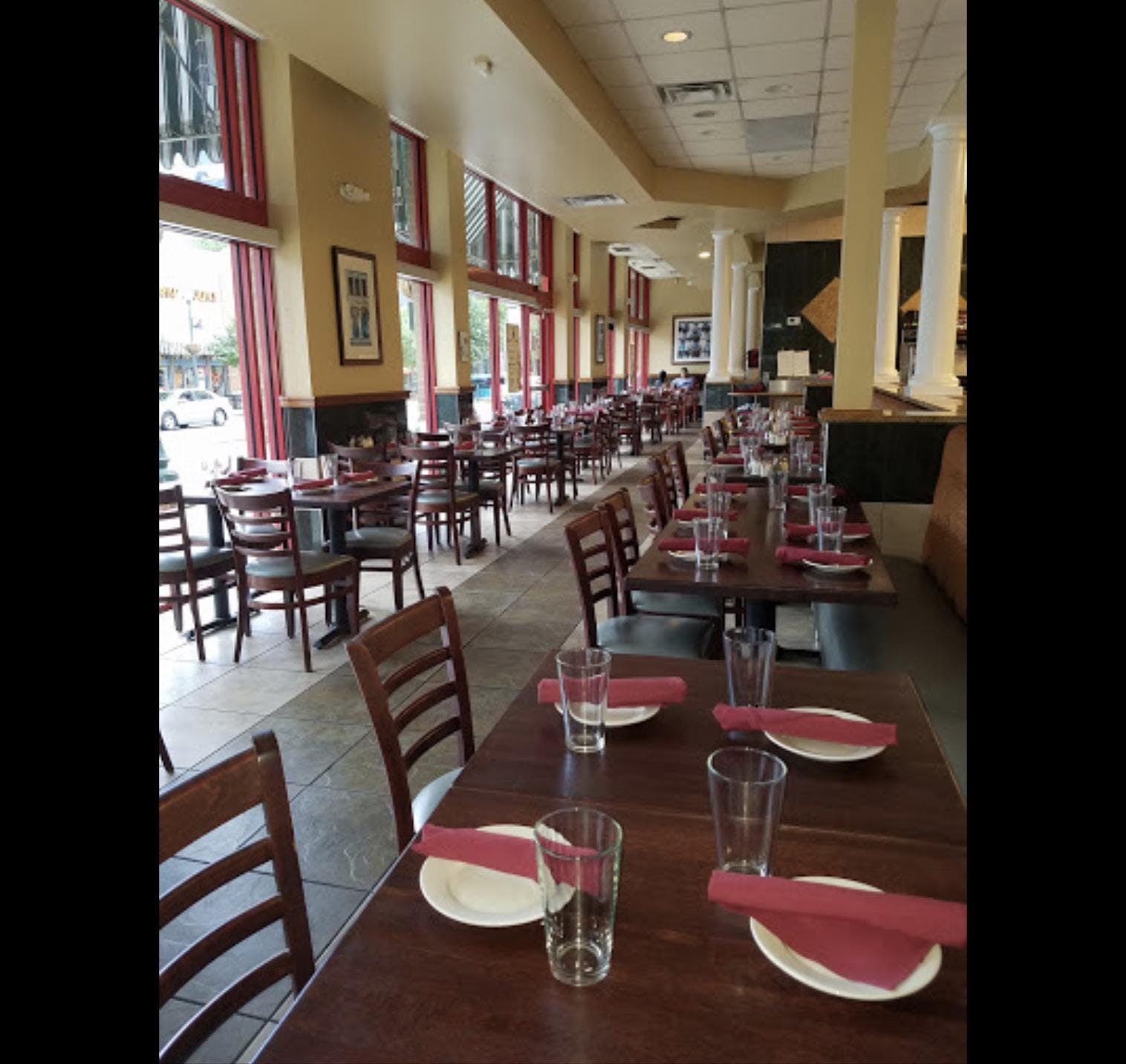First Friday lunch location dining area of Mamma Lucia's